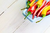 Background Colorful Peppers Blue Bowl