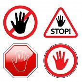Stop sign, isolated on white background. Set. illustration.