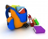 3D Render of a School Bag and Books