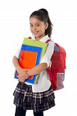 foto of ponytail  - happy sweet little schoolgirl carrying schoolbag backpack and books smiling in children education and back to school concept isolated on white background - JPG