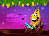 Funny Chocolate Vector Design With Cocoa Pod, Leaf And Chocolate Splash