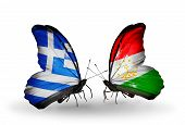 Two Butterflies With Flags On Wings As Symbol Of Relations Greece And Tajikistan