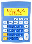 foto of ethics  - Calculator with BUSINESS ETHICS on display isolated on white background - JPG