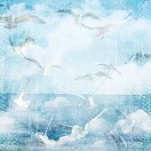 An Abstract Vintage Texture Background With Clouds And Seagull.