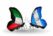 Two Butterflies With Flags On Wings As Symbol Of Relations Kuwait And Guatemala
