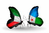 Two Butterflies With Flags On Wings As Symbol Of Relations Kuwait And Djibouti