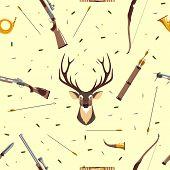 picture of deer head  - Seamless background with deer head - JPG