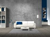 modern living room with blue