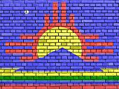 Flag Of Roswell Painted On Brick Wall