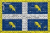 stock photo of turin  - flag of Turin painted on brick wall - JPG