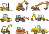 Set of heavy construction machines. Vector illustration