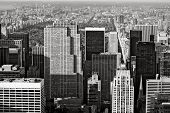 Manhattan's Highrises And Central Park, New York City - Black & White Cityscape
