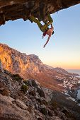 Male climber on overhanging rock