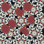 Seamless mandalas background. Red and gray mandala wallpaper seamless endless.