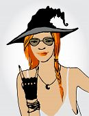Beautiful ginger witch