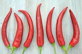image of red hot chilli peppers  - red hot chilli peppers on a table  - JPG