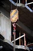 pic of crane hook  - Industrial crane hook on a construction site - JPG
