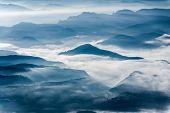 Misty Mountains Landscape In La Garrotxa, Catalonia
