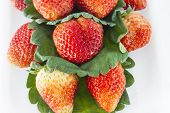 Strawberries and leafs on white background