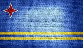 Aruba flag on burlap fabric