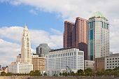 Columbus Ohio USA skyline of business buildings