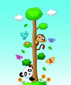 pic of tall grass  - Vector illustration of Happy animal cartoon with tall tree - JPG