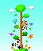 Happy animal cartoon with tall tree