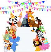 image of safari hat  - Vector illustration of Safari Animals cartoon Wearing Party Hats - JPG