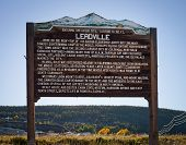Wooden welcome sign to the town of Leadville Colorado