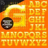 Techno style alphabet sensitive to the background. Stab. Set 1