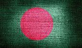 Bangladesh flag on burlap fabric