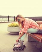 Fashion, Extreme, Youth And People Concept - Pretty Stylish Blonde With Roller Skates In The City Pa