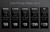 Dark & silver pricing tables - set of five price banner templates suitable for web and e-shops