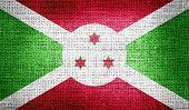 foto of burundi  - Grunge of Burundi flag on burlap fabric - JPG