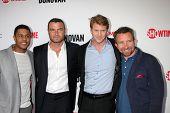 LOS ANGELES - APR 28:  Pooch Hall, Liev Schreiber, Dash Mihok, Eddie Marsan at the