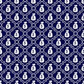 Navy Blue And White Money Bag Repeat Pattern Background