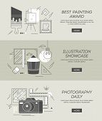 Three Conceptual Banners On Topics Of Painting, Illustration And Photography