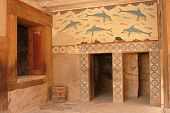foto of minos  - inside of ruins in Knossos with dolphins paintings - JPG