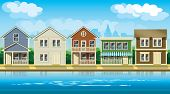 pic of suburban city  - stylized vector illustration seamless horizontally on the theme comfortable cottages suburb - JPG