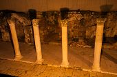 stock photo of cardo  - Ancient Roman main street through Jerusalem called the Cardo at night - JPG