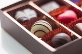 Brown Box Of Chocolate With Assorted Chocolates, Macro