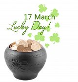 Golden coins in ceramic pot, leprechaun treasure, St.Patrick's Day greeting card