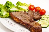 Juicy stake with salad