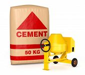 pic of mixer  - cement mixer with a big bag of cement  - JPG
