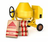 pic of mixer  - cement mixer with a pile of bags of cement  - JPG