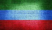 Dagestan flag on burlap fabric