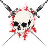 foto of skull cross bones  - skull with two crossed daggers on white and red background - JPG