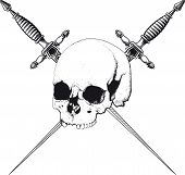 stock photo of skull cross bones  - skull with two crossed daggers on white background - JPG