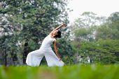 stock photo of virabhadrasana  - Beautiful woman practicing yoga in the park - JPG