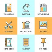 pic of tool  - Line icons set with flat design elements of office tool and utensil business equipment for everyday task paperwork and routine object - JPG